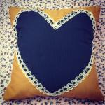 Vintage Mustard and navy blue lace ..