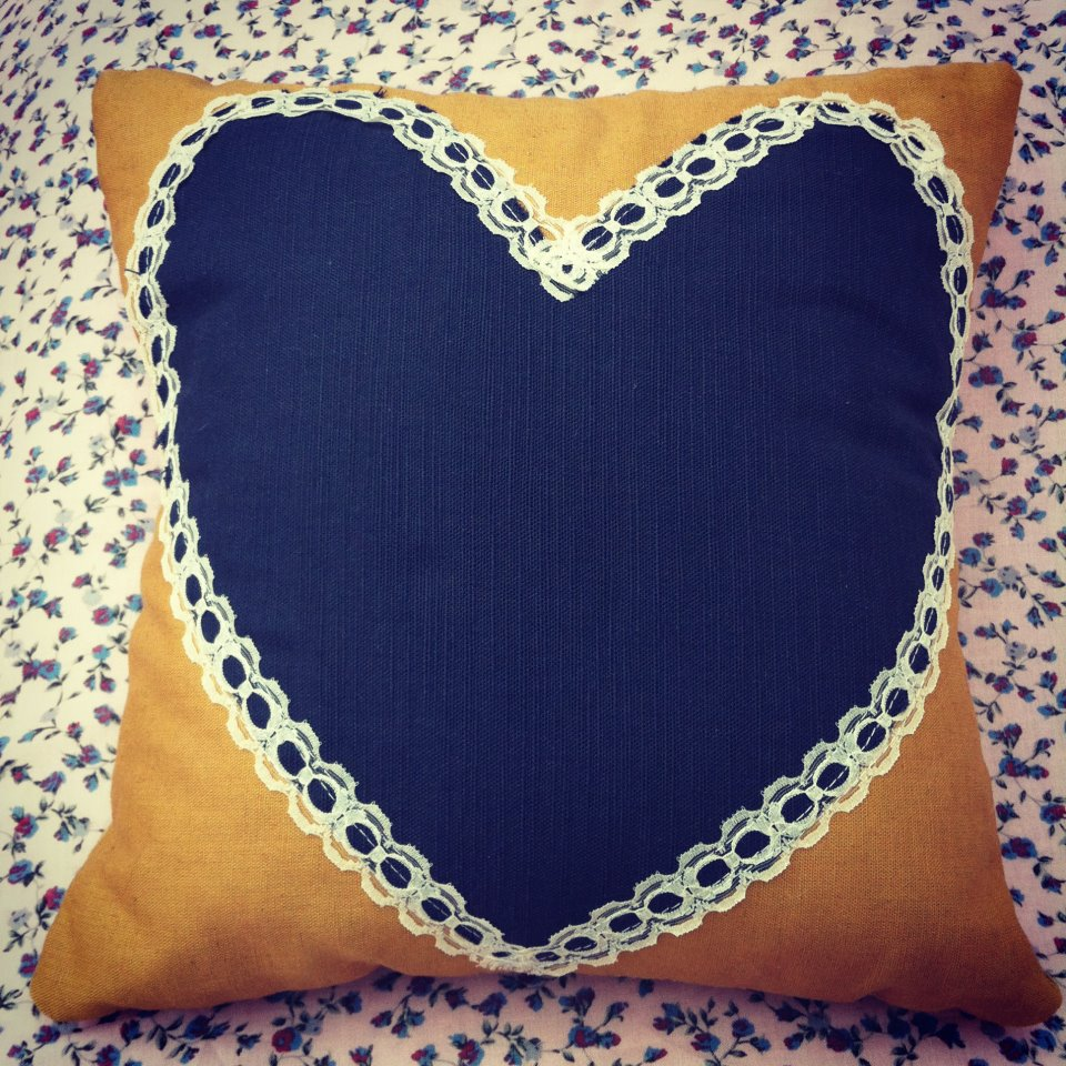 Vintage Mustard and navy blue lace heart cushion