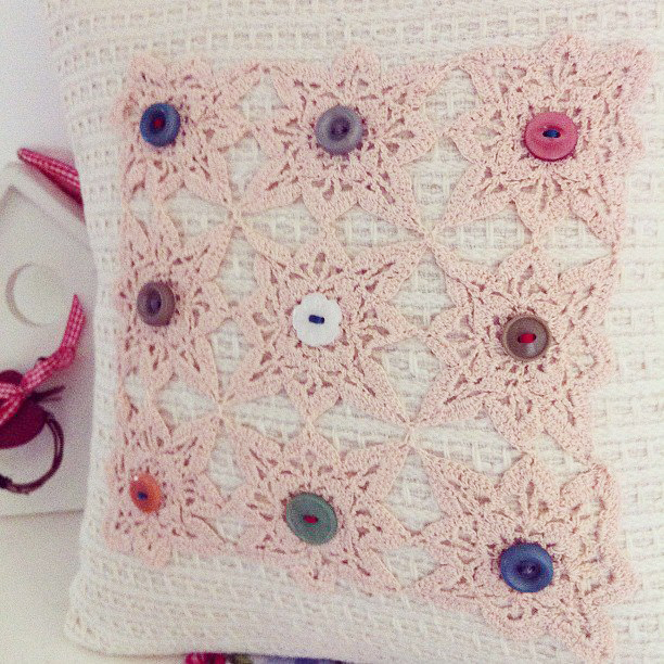 Soft woollen cushion, with vintage doily and vintage button details.