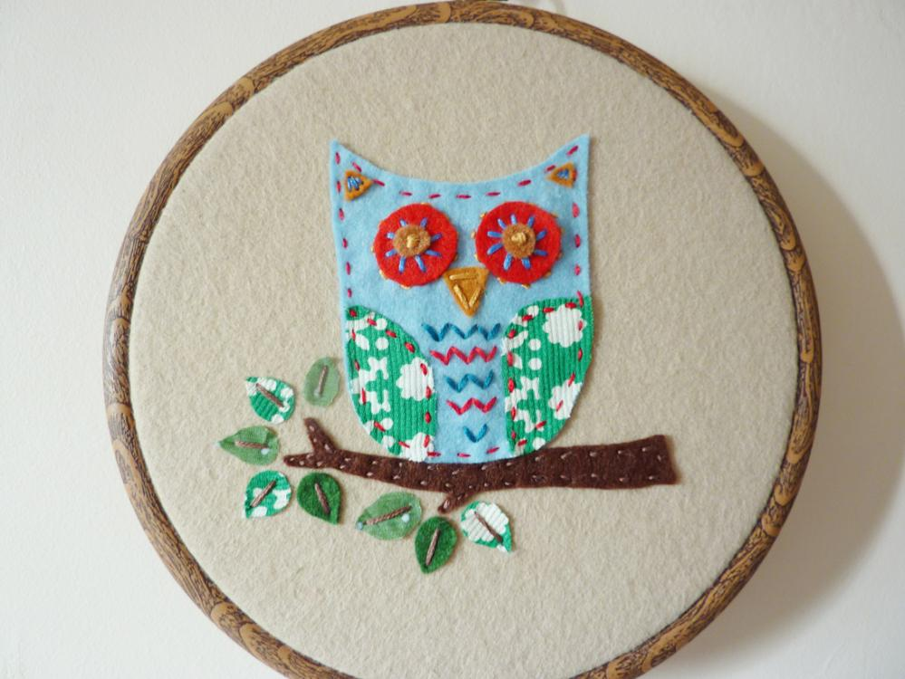 Hand stitched embroidery hoop owl wall hanging