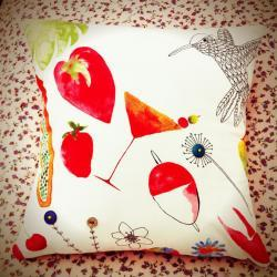 Watercolour print colourful cotton cushion.